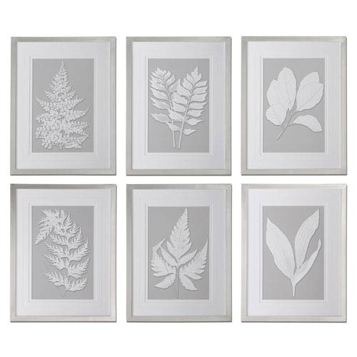 Uttermost Moonlight Ferns Silver Framed Art, Set Of 6 41394 | Bellacor