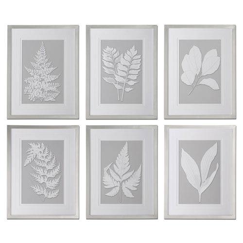 Uttermost Moonlight Ferns Silver Framed Art, Set Of 6 41394 | Bellacor