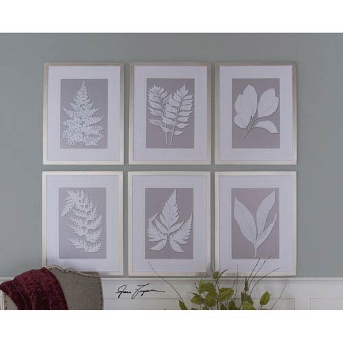 Moonlight Ferns Silver Framed Art, Set of 6
