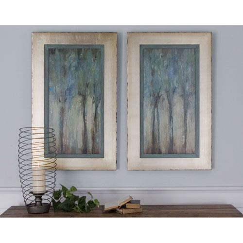 Whispering Wind Aqua Blue Framed Art, Set of 2