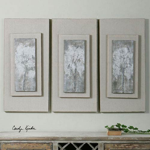 Triptych Trees Hand Painted Art, Set of Three