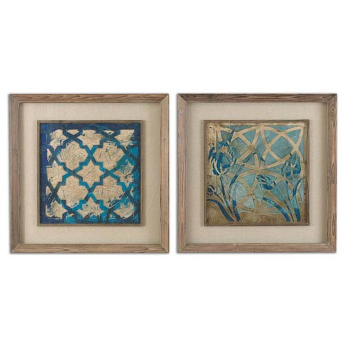 Stained Taupe Glass Indigo Art, Set of 2