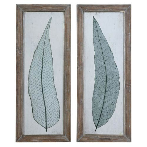 Uttermost Tall Leaves Taupe and Gray Framed Art, Set of 2