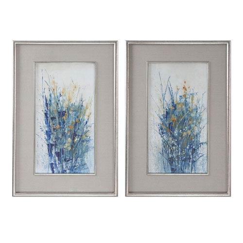 Indigo Florals Framed Art, Set of 2