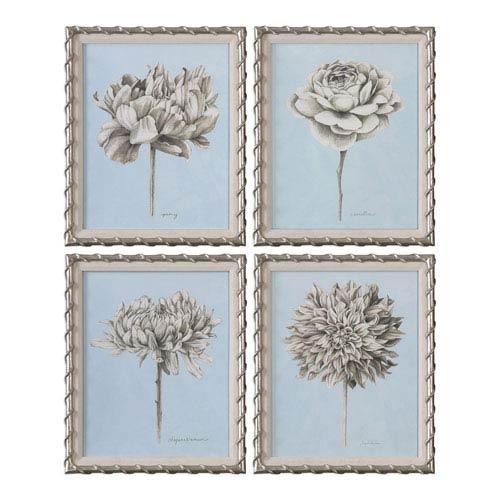 Uttermost Graphite Botanical Study Floral Prints, Set of Four