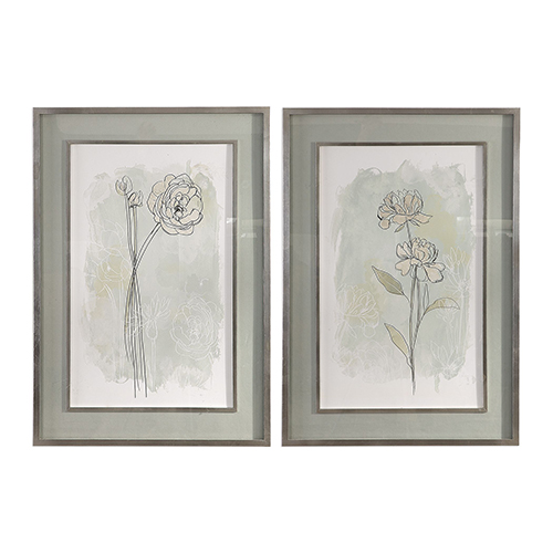 Stone Flower Study Floral Prints, Set of 2