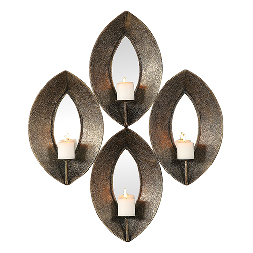 Nina Antique Bronze Four Candle Wall Sconce