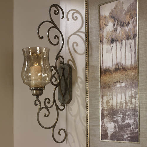Davinia Bronze and Iron Candle Sconce