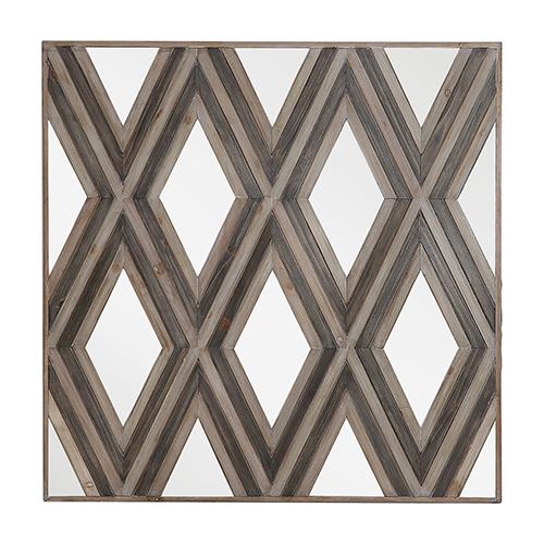 Tahira Square Geometric Argyle Pattern Wall Mirror