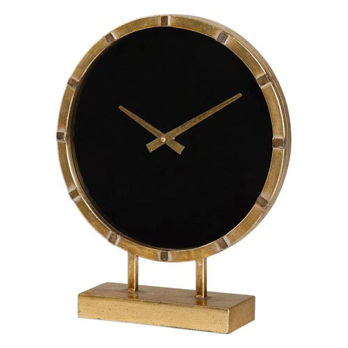 Genial Uttermost Aldo Antique Gold And Black Tabletop Clock