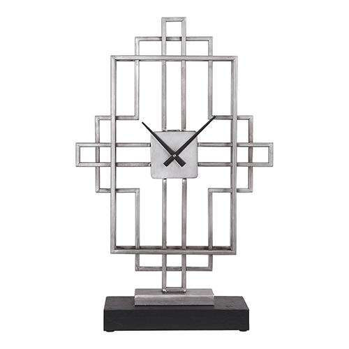 Vanini Antique Silver Tabletop Clock