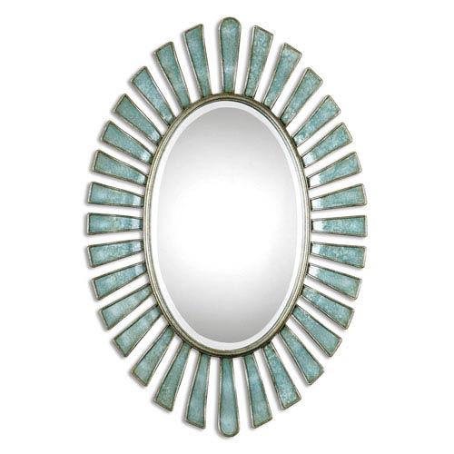 Morvoren Blue Gray Oval Mirror