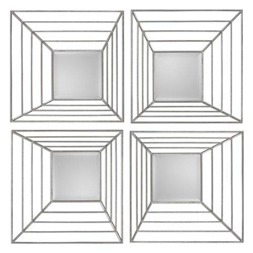 Denain Antique Silver Square Mirror, Set of Four