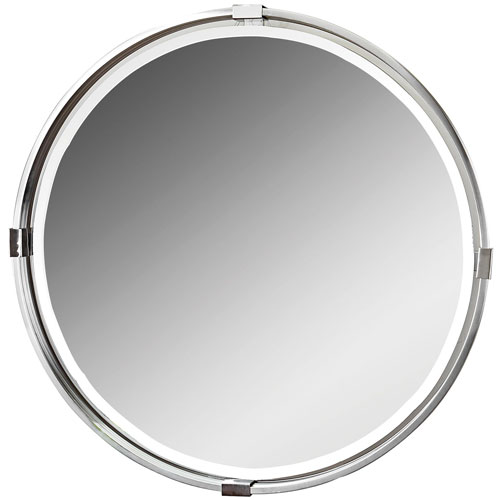 Tazlina Nickel Brushed Nickel Round Mirror