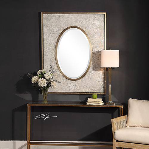 Gabbriel Mottled Gray and Metallic Silver Mirror