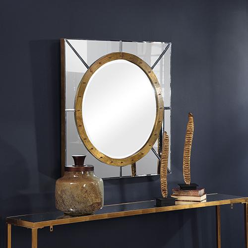 Maya Silver and Antique Copper Square Mirror