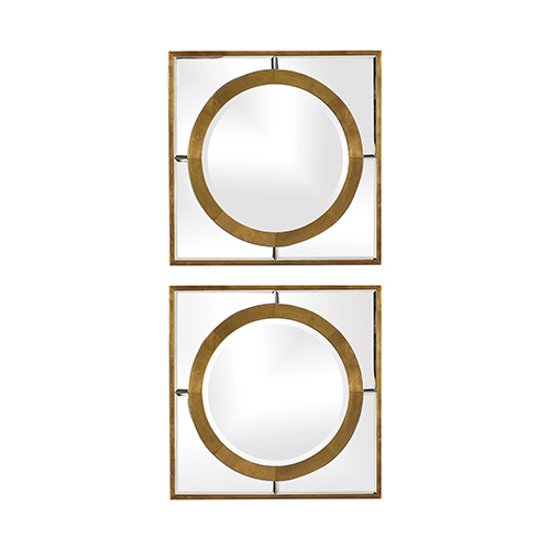 Gaza Gold Square Mirror, Set of Two