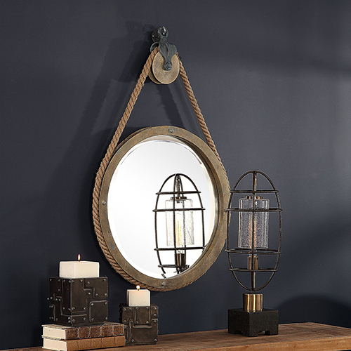 Melton Aged Natural Wood Round Pulley Mirror