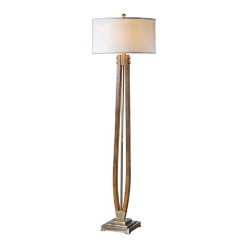 Golden Burnished Wood Floor Lamp