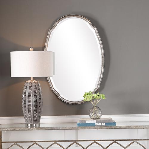 Afton Silver Oval Mirror