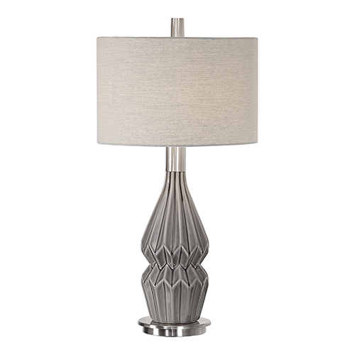 251 First Wellington Charcoal Gray One-Light Table Lamp