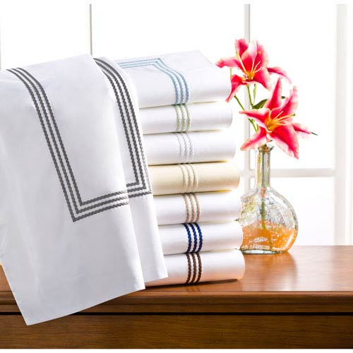 Windsor White and Blue 400 Thread Count Twin Sheet Set, Set of Three