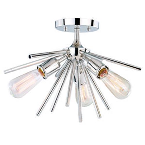 Estelle Polished Nickel 17-Inch 3-Light Semi-Flush Mount