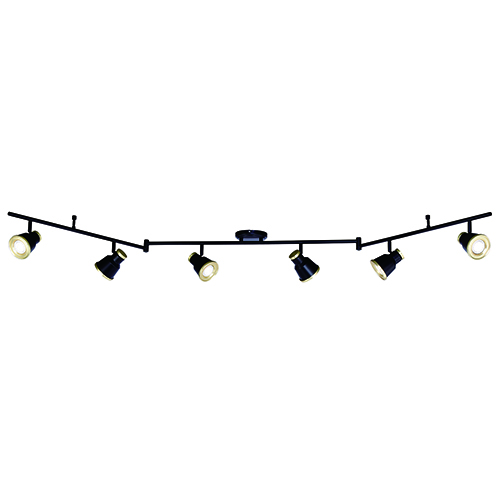 Fairhaven Textured Black with Natural Brass Six-Light Directional Light