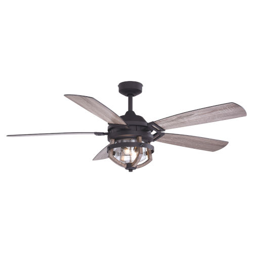 Barnes Matte Black and Rustic Oak 54-Inch Two-Light Outdoor Ceiling Fan