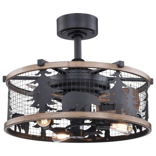 Kodiak Oil Rubbed Bronze and Burnished Teak 21-Inch Three-Light Ceiling Fan