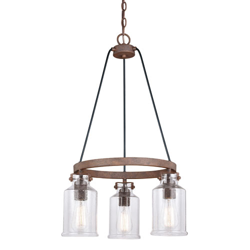 Milone Textured Rustic Bronze Three-Light Mini Chandelier