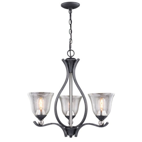 Seville Textured Graphite And Textured Graphite Three-Light Adjustable Chandelier