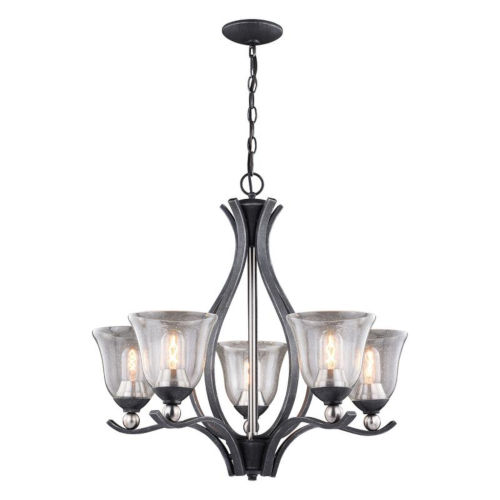 Seville Textured Graphite And Textured Graphite Five-Light Adjustable Chandelier
