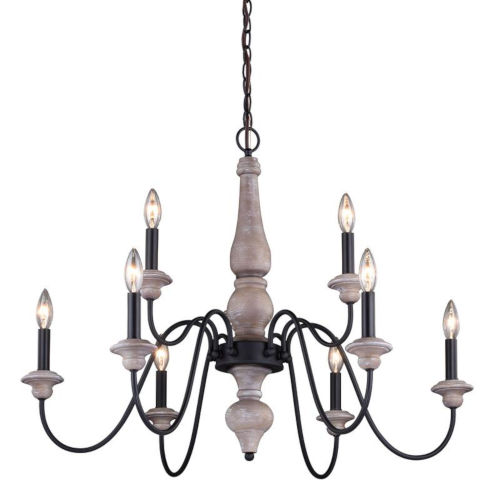 Georgetown Vintage Ash And Oil Burnished Bronze Nine-Light Adjustable Chandelier