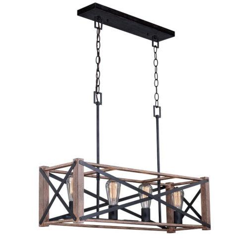 Colton Rustic Oak And Noble Bronze Four-Light Adjustable Pendant