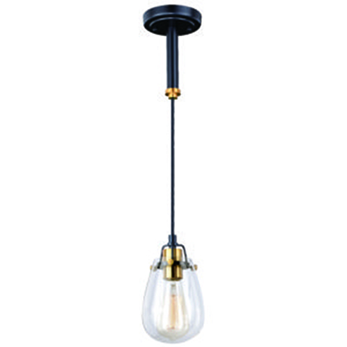 Vaxcel Kassidy Black and Natural Brass 5-Inch 1-Light Mini Pendant