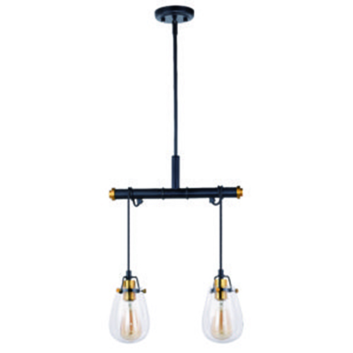 Vaxcel Kassidy Black and Natural Brass 16.5-Inch 2-Light Pendant