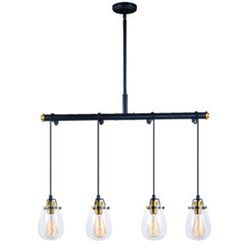 Vaxcel Kassidy Black and Natural Brass 32.5-Inch 4-Light Pendant