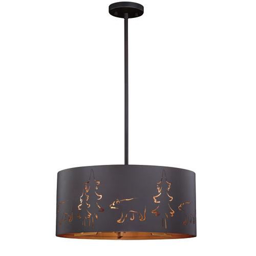 Katmai Noble Bronze and Inner Brass Gold Five-Light Pendant