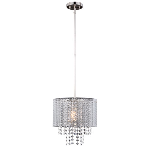 Ella Satin Nickel One-Light Pendant with Crystal
