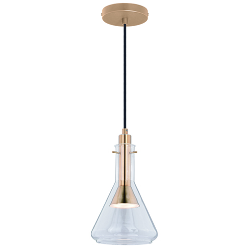 Bunsen Satin Nickel LED Transparent Mini Pendant