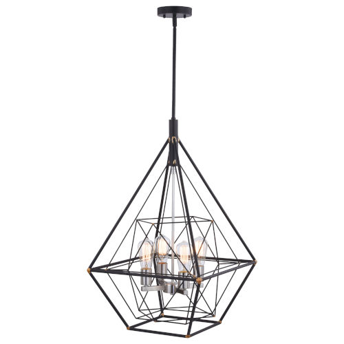 Bartlett Oil Rubbed Bronze and Satin Nickel Four-Light Pendant