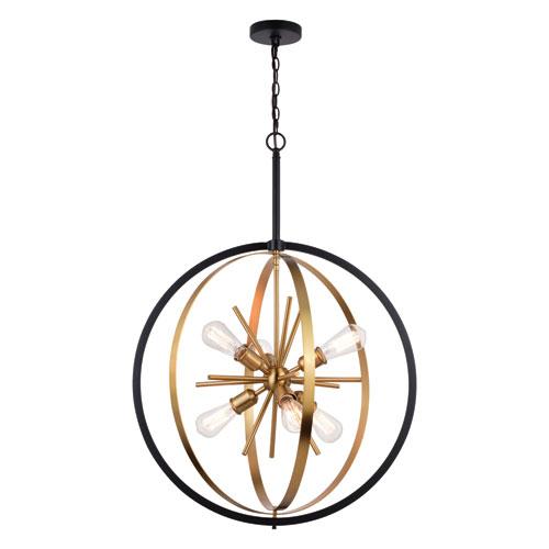 Estelle Natural Brass and Matte Black Six-Light Pendant