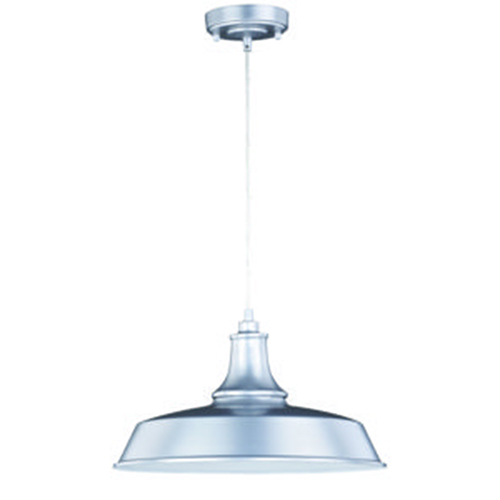 Dorado Satin Silver Inner White 15-Inch 1-Light Outdoor Pendant