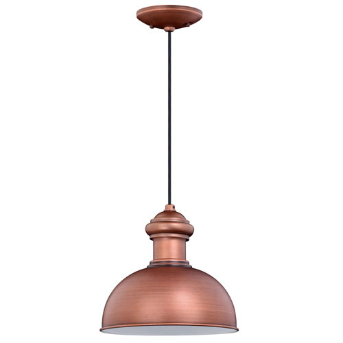 Franklin Brushed Copper 10-Inch One-Light Outdoor Pendant