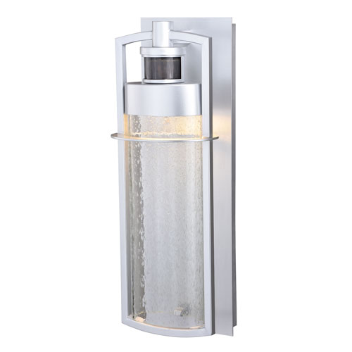 Vaxcel Logan Painted Satin Nickel LED Outdoor Motion Sensor Wall Sconce