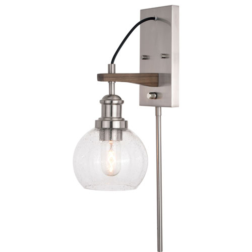 Avondale Satin Nickel and Dark Sycamore One-Light Wall Sconce