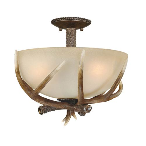 Yoho Black Walnut Three-Light Semi Flush with Creme Cognac Glass