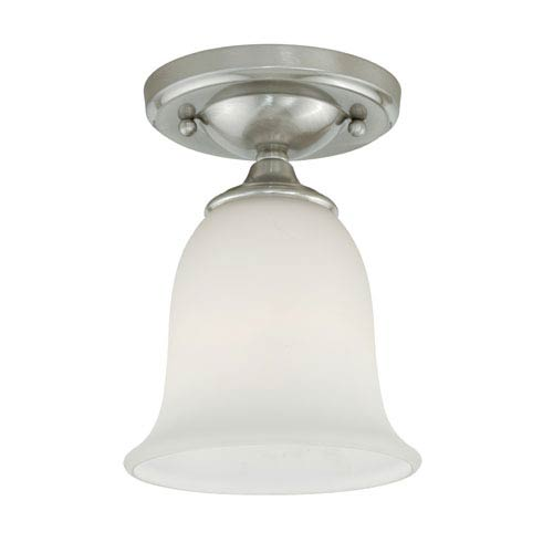Vaxcel Satin Nickel 6-Inch Wide One-Light Flush Mount with Frosted Opal Glass