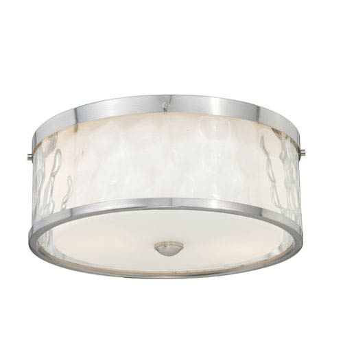 Vaxcel Vilo Satin Nickel Two-Light Flush Mount with Outer Water Glass